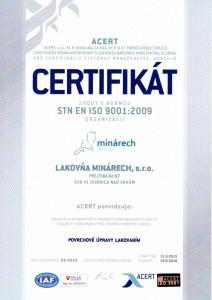 Certifikat ISO Lakovňa